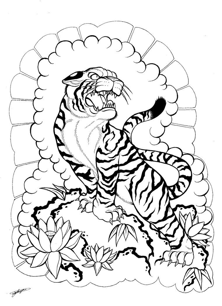 My Japanese Tiger and Floral Tattoo Design! :3 by ShannonxNaruto on DeviantArt