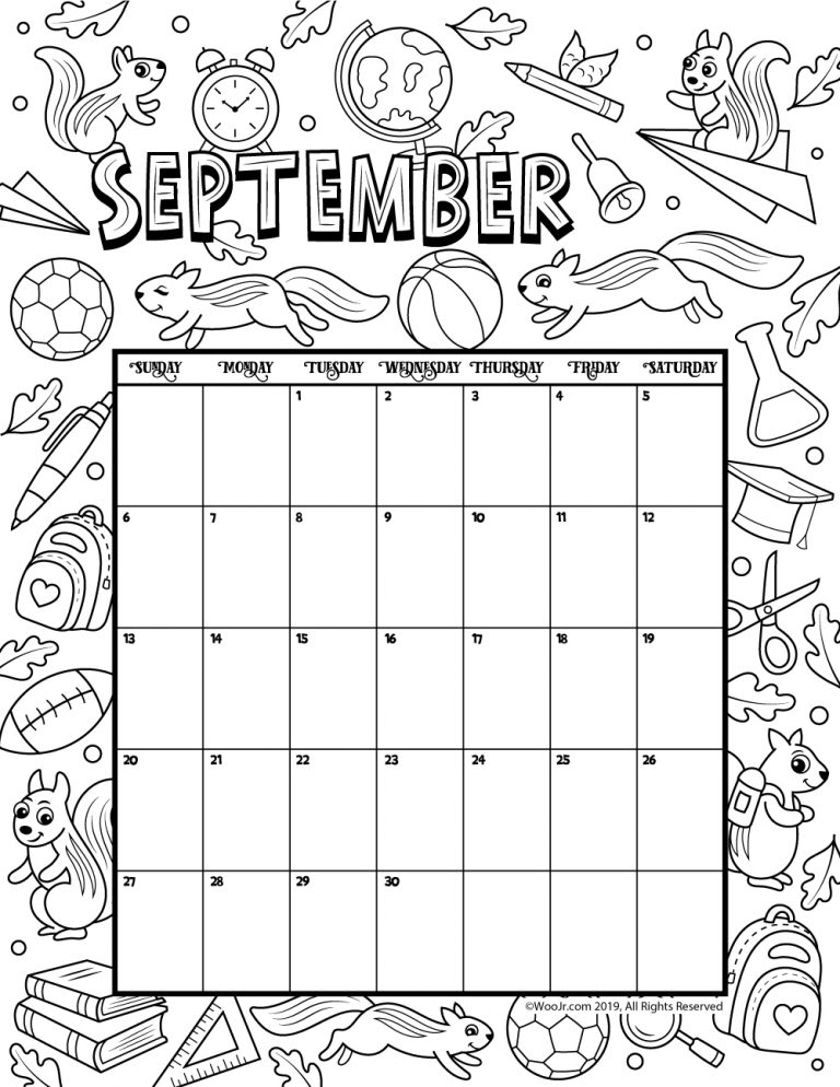 Printable Coloring Calendar For 2021 (and 2020!) Woo! Jr. Kids Activities  Coloring Calendar, Printable Calendar Pages, Kids Calendar