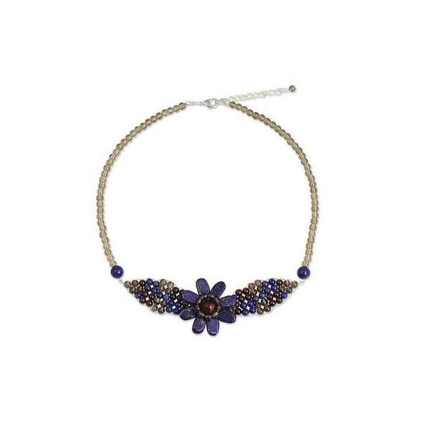 NOVICA Beaded Smoky Quartz and Lapis Lazuli Flower Necklace ($36) ❤ liked on Polyvore featuring jewelry, necklaces, brass, pendant, beaded flower necklace, leaf pendant necklace, bead necklace, beaded pendant necklace and strand necklace