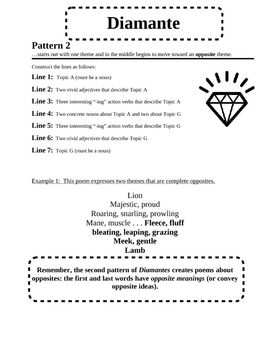 Free Diamante Poem Pattern Teaching Poetry Poetry For Kids