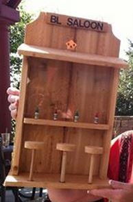 Saloon bird feeder for a friend whose initials are BL.