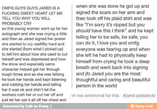 Oh my gosh I love him so much this legitimately made me cry. #supernatural