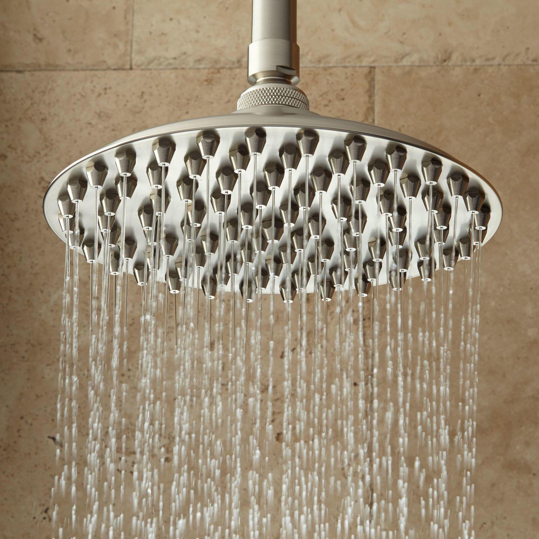 10 Bostonian Rainfall Nozzle Shower Head 12 Ceiling Arm Brushed Nickel