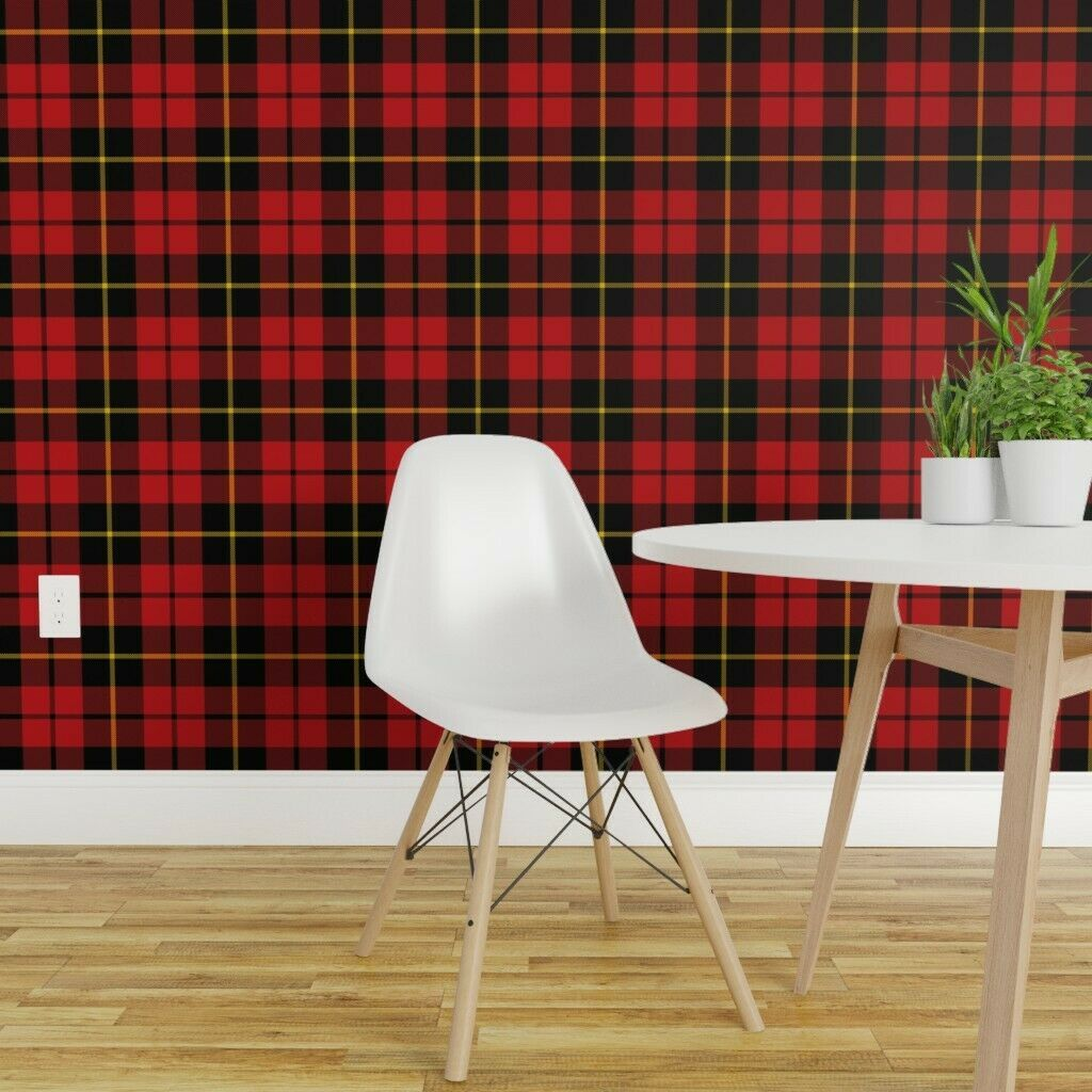Peel And Stick Removable Wallpaper Wallace Red Black Yellow Plaid Tartan Clan Ebay Removable Wallpaper Tartan Wallpaper Quick Decor