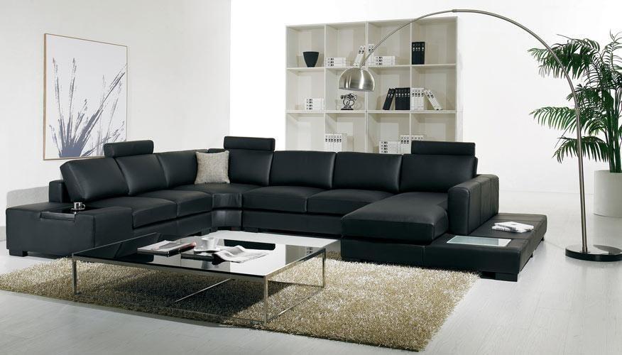T35 Modern Bonded Leather Sectional Sofa With Light Stylish Design Furniture Corner Sofa Living Room Living Room Sofa Contemporary Leather Sofa