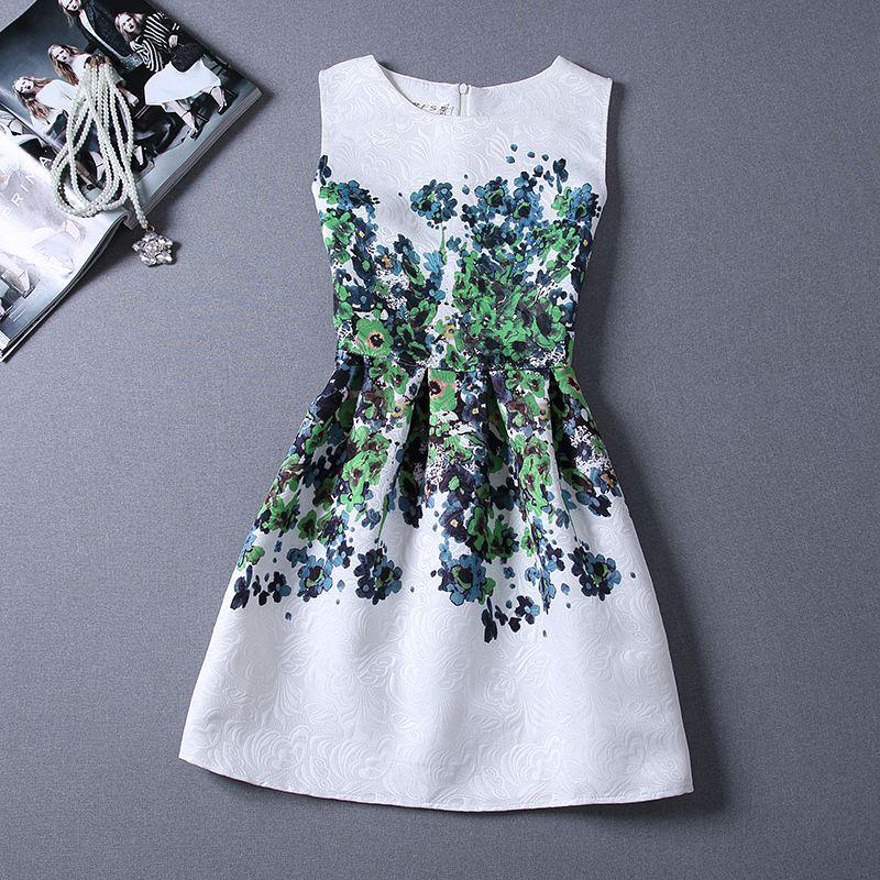 New Fashion sundress summer Style floral Print Party women Summer Dress 2015 Vestidos de Festa Vestidos Casual Free Shipping
