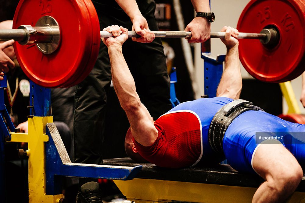 Male Powerlifter Bench Press In Powerlifting Competition Powerlifting Competitions Powerlifting Bench Press
