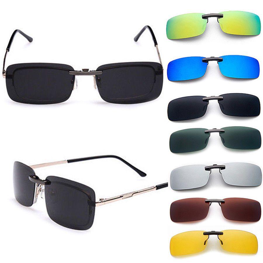 Fashion Polarized Day Night Vision Clip-on Lens Driving Glasses Sunglasses UV400