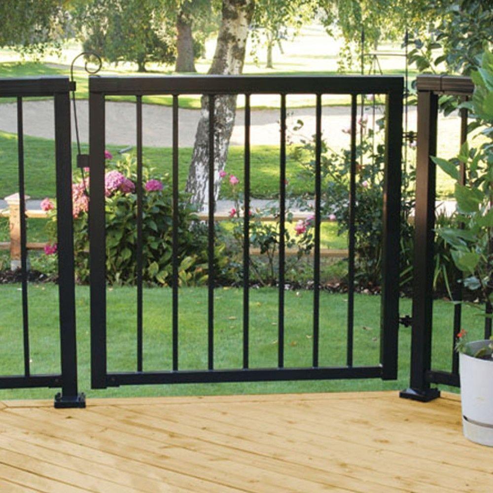 Peak Aluminum Railing 42 In X 40 In Black Aluminum Picket Gate 50161 The Home Depot Patio Gates Metal Garden Gates Aluminum Fence Gate
