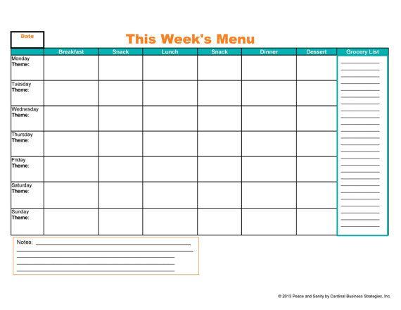 Weekly Menu Meal Planner And Grocery List Printable Pdf