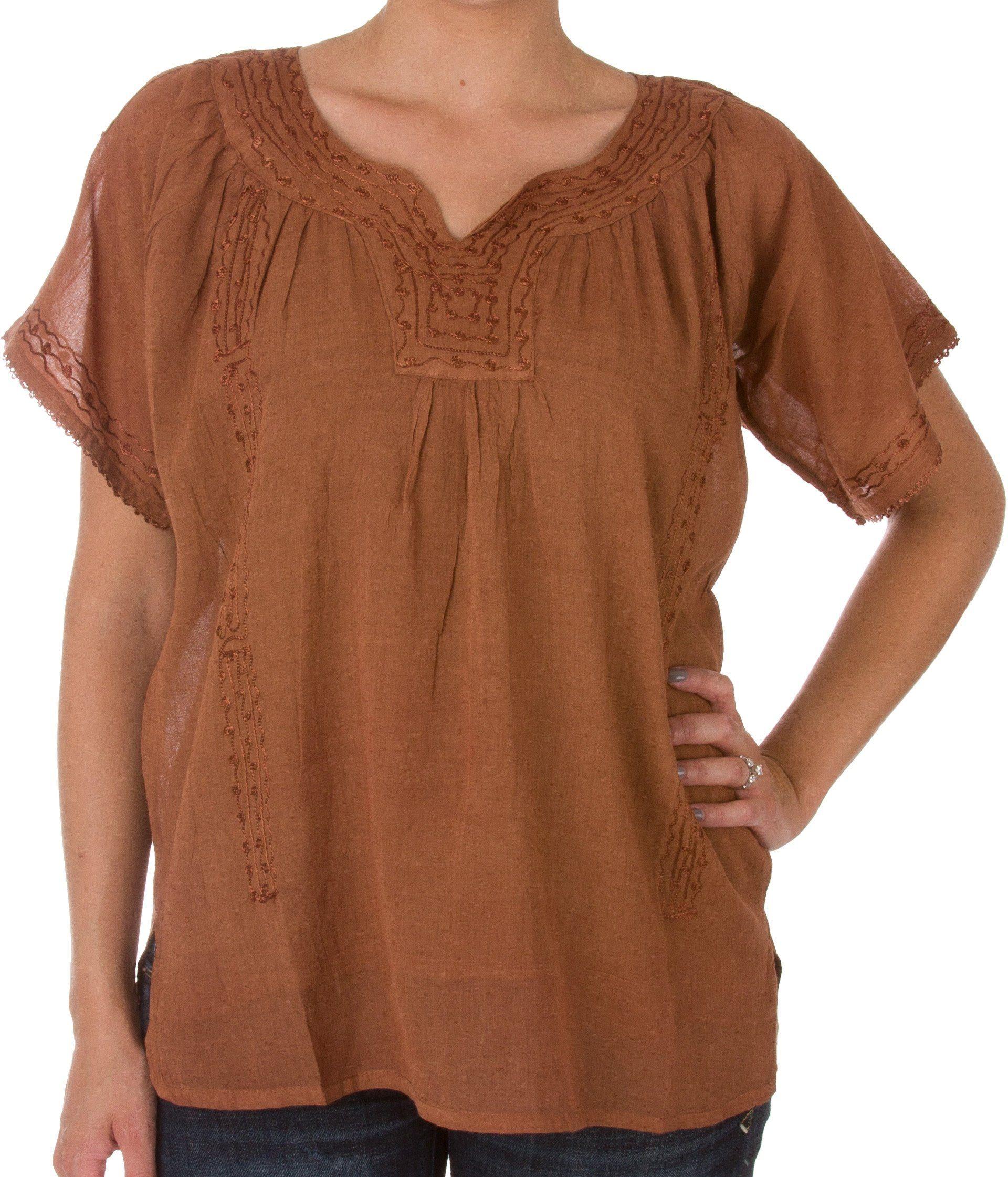 Sakkas Embroidered 100% Cotton Semi-Sheer Short Sleeve