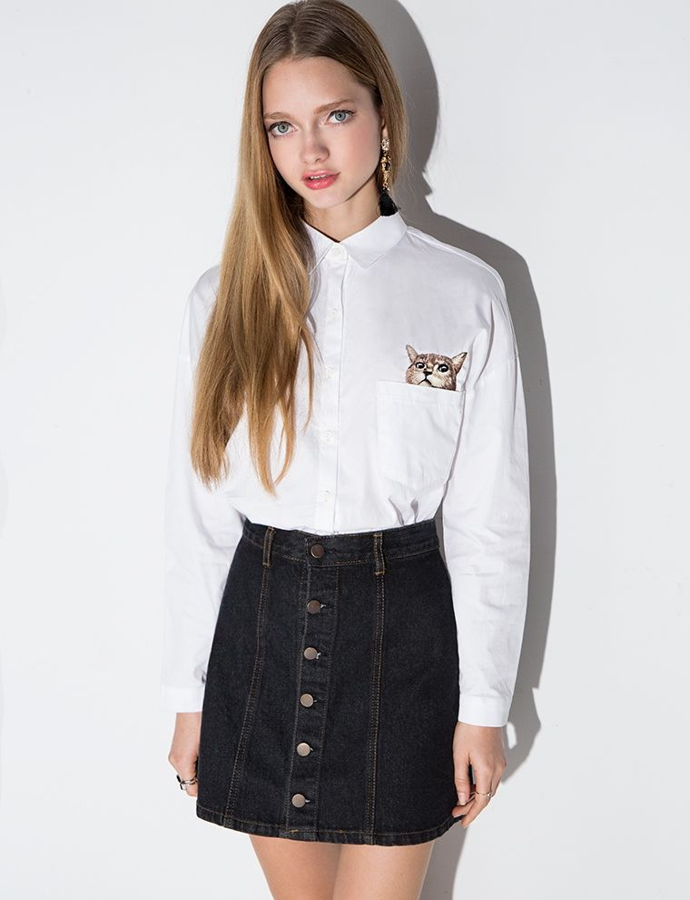 monki-black-a-line-denim-skirt- | Black Denim Skirt | Pinterest ...