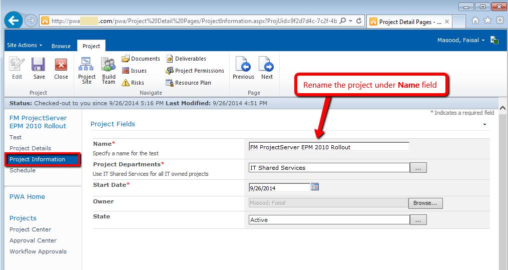 Project Web Access PWA Project Information PDP Page