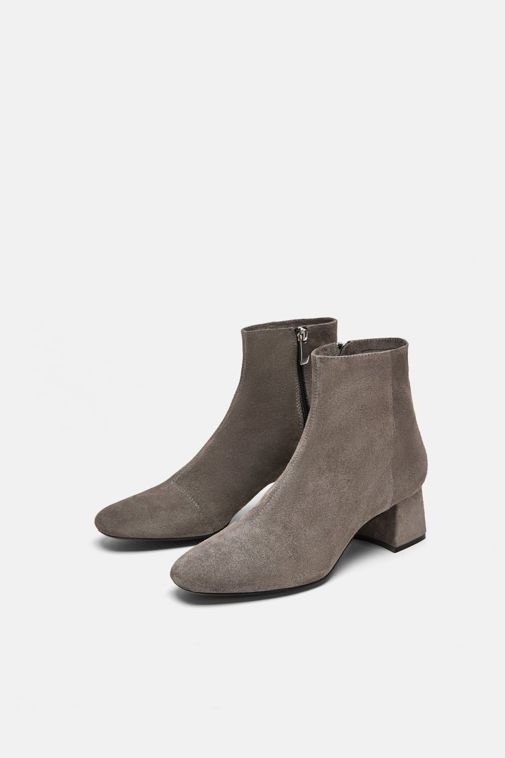 36b83a48e60 Image 1 of SPLIT SUEDE MID-HEEL ANKLE BOOTS from Zara