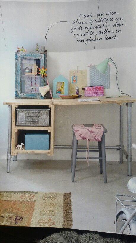 Bureau steigerhout en steigerbuizen bureau pinterest bureaus kinderen en kinderkamer - Bureau kinderen ...