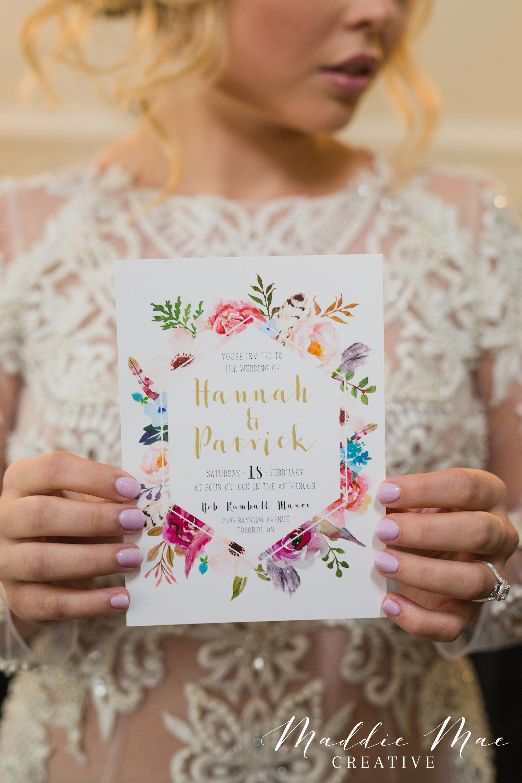 Boho Wedding Invitation + RSVP, Vintage Gold Wedding Suite