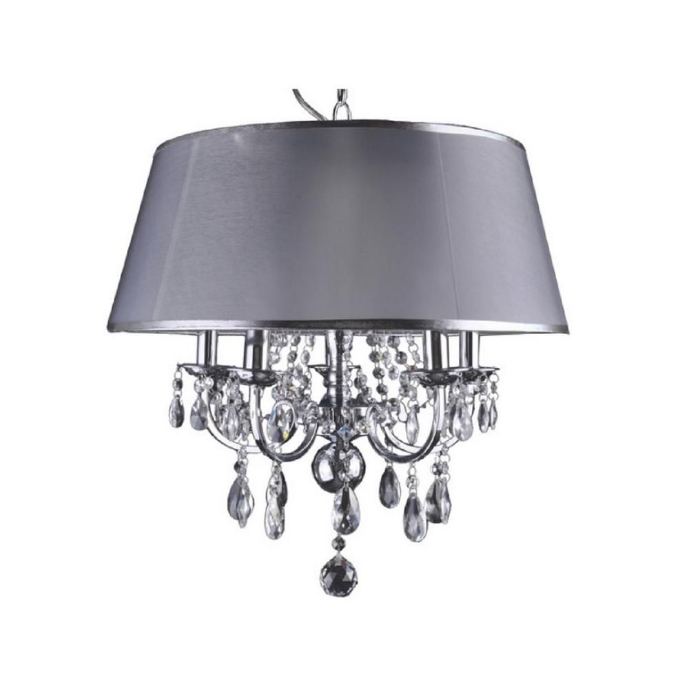 Aurora lighting 5 light chrome chandelier with silver fabric shade aurora lighting 5 light chrome chandelier with silver fabric shade arubaitofo Image collections