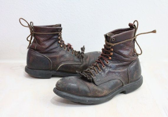 Vintage Red Wing Mens Rustic Leather Work by claudedonohoshop, $138.00