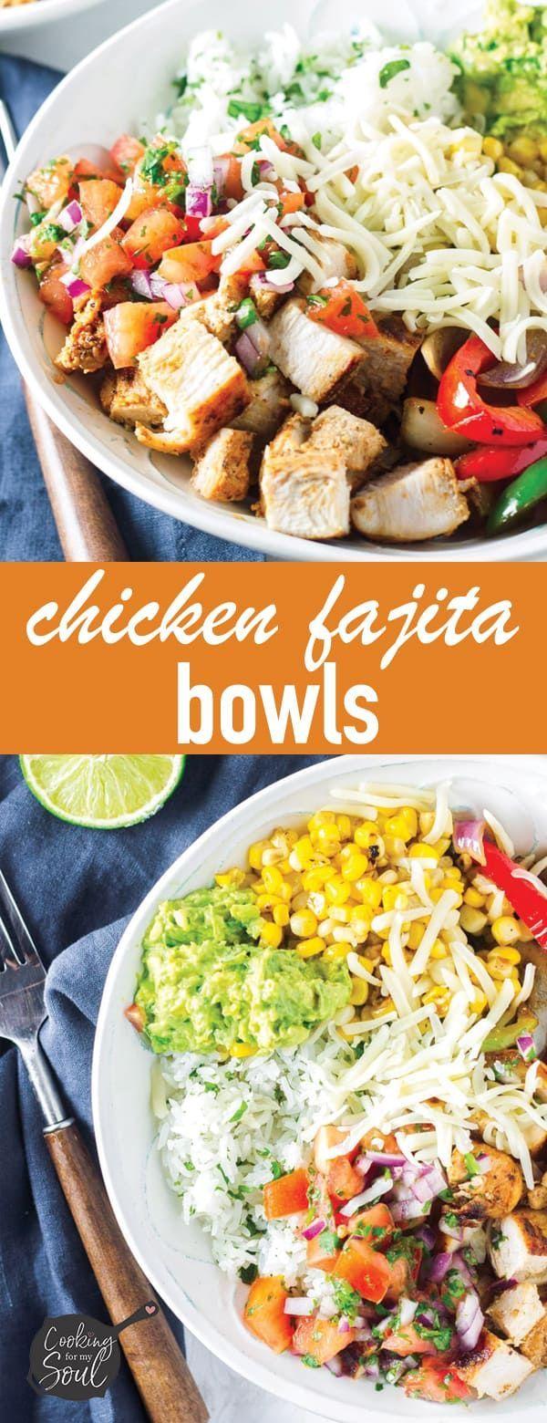 The Best Chicken Fajita Bowls - Cooking For My Soul #recipeforchickenfajitas