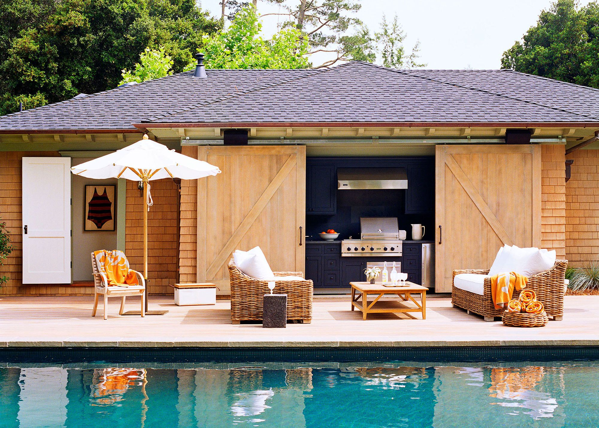 A Modern Family Home Where Past Meets Present Pool House Designs Pool Houses Barn Style House