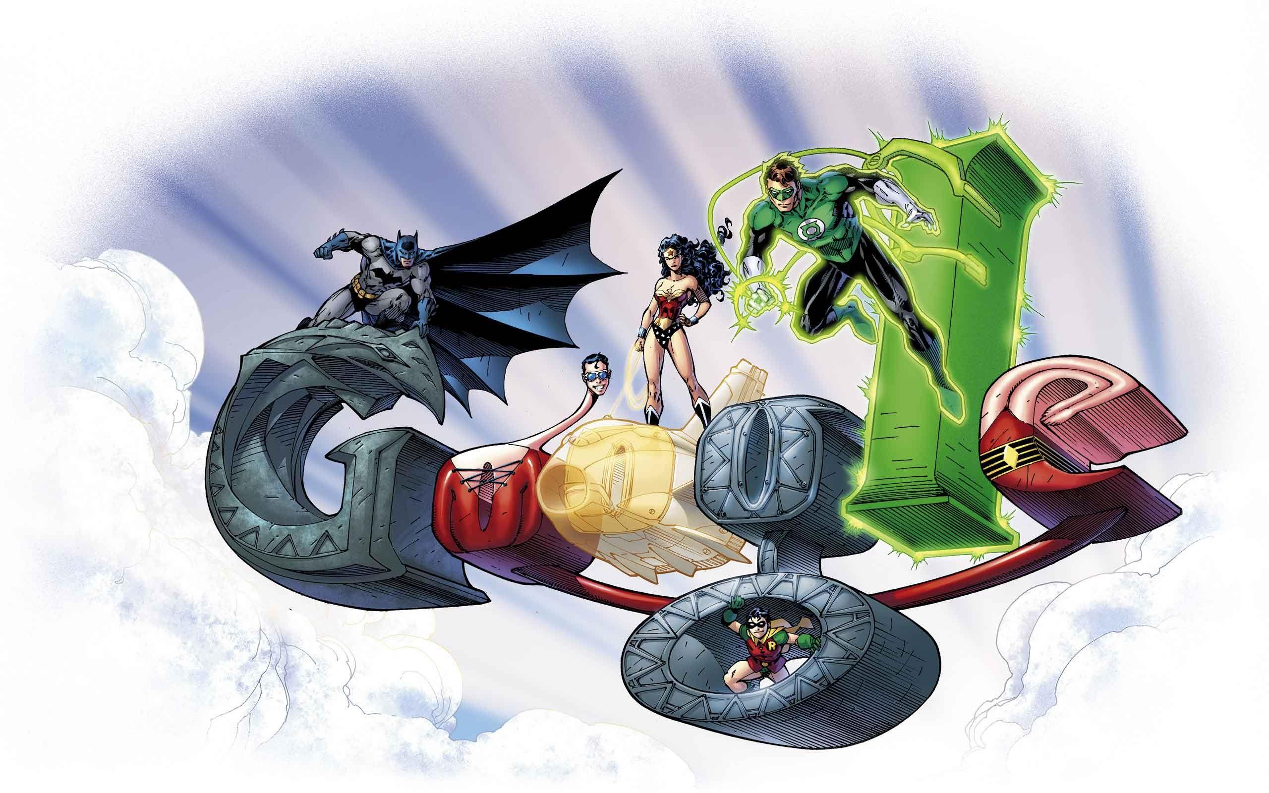 Google themes batman - Batman Logo Green Lantern Robin Batman Wonder Women In Google Logo Wallpaper