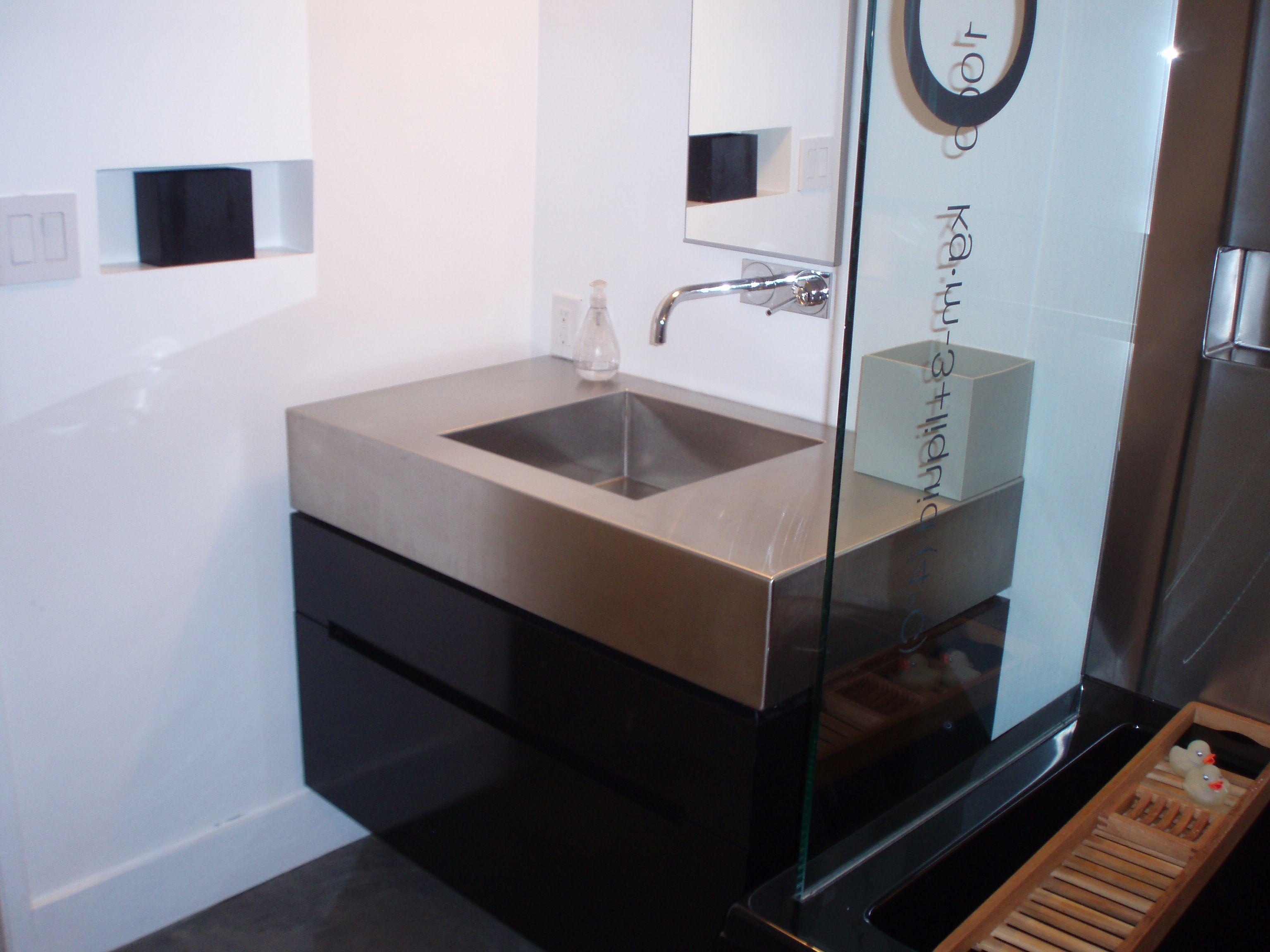 Custom seamless stainless steel vanity bathroom ideas - Custom bathroom countertops with sink ...
