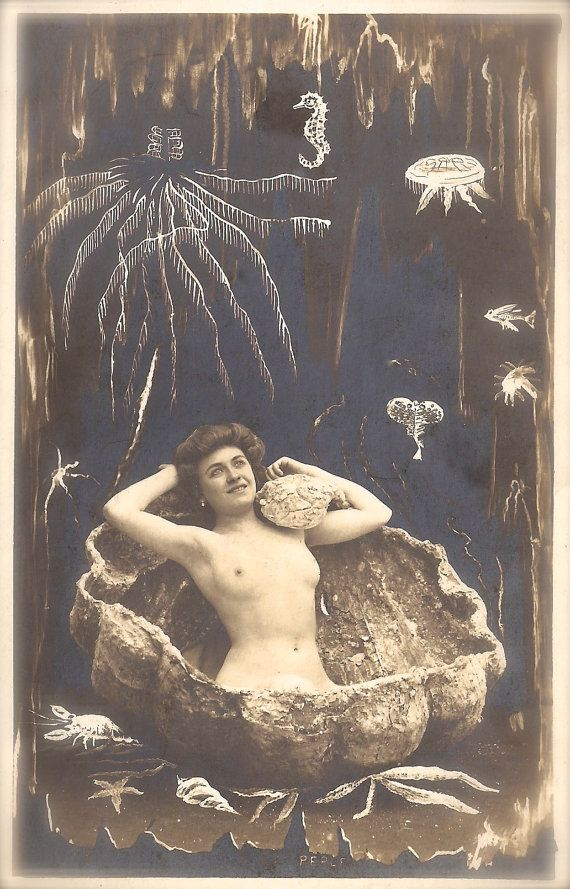 The Nude Sea Goddess Fantasy Aphrodite Erotic Dream Sensual Pearl  Surrealism Underwater Mermaid Original Rare 1900s French Nouveau Postcard