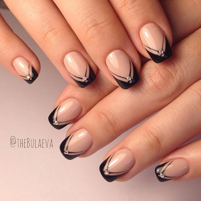 glam spin on french nails nailart black + rhinestone - Pin By Светлана Прохоренко On Nail Designs Pinterest Manicure