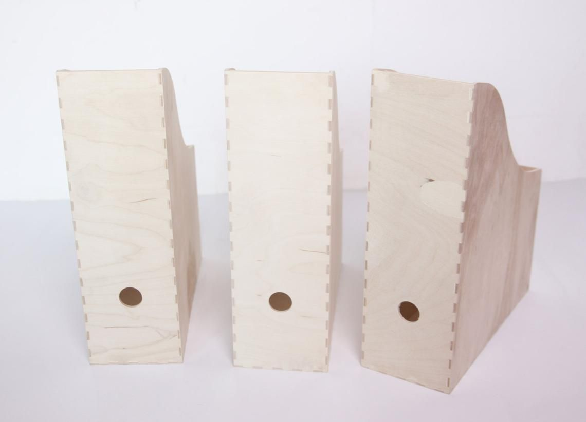 Set Of 3 File Storage Bo Made Unfinished Pine Wood Magazine With Rounded
