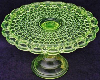 *VASELINE GLASS Beautiful Antique Thousand Eye Pattern Pedestal Cake Plate Stand & Beautiful antique vaseline glass thousand eye pattern pedestal cake ...