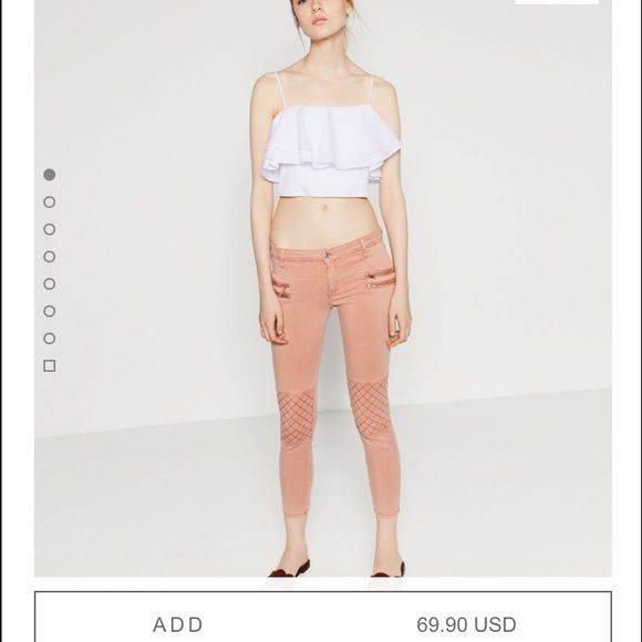Zara pink pants Only worn once for an hour! Still have a tag. I got these on vacation and I don't have a Zara where I live so I can't return! EXCELLENT CONDITION. US size 4. Fits XS-S Zara Pants Ankle & Cropped