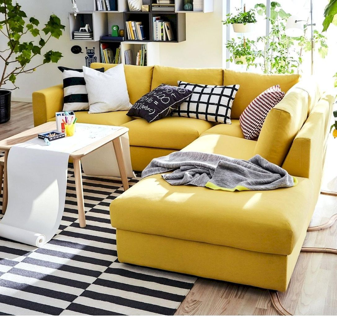 Cool 50 Inspiring Yellow Sofas For Living Room Decor Ideas Https Homespecially Com 50 Inspiring Yellow Sofas Fo Living Room Sofa Yellow Sofa Ikea Living Room
