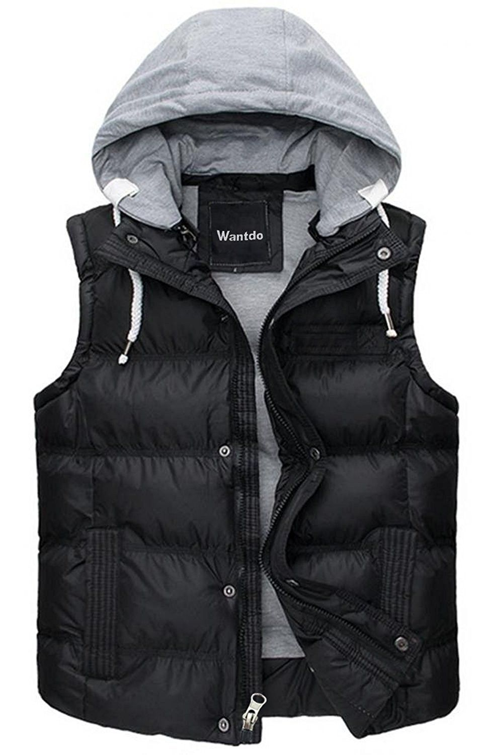 Kutook Winter Men/'s Warm Vest Outdoor Gilet with Removable Hood