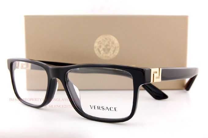 ba3a5e5488e31 Brand New VERSACE Eyeglasses Frames 3211 GB1 BLACK for Men 100% Authentic  SZ 55