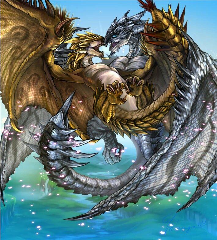 Gold rathian & silver rathalos | monster hunter ... Gold Rathian And Silver Rathalos