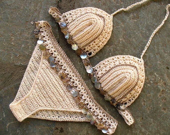 Costume Da Bagno Conchiglia : Crochet bikini crochet swimwear crochet bathing suit crochet