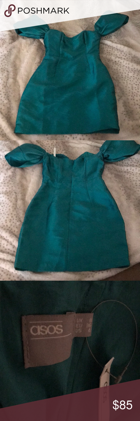 Asos emerald green evening or prom dress size nwt arm pits