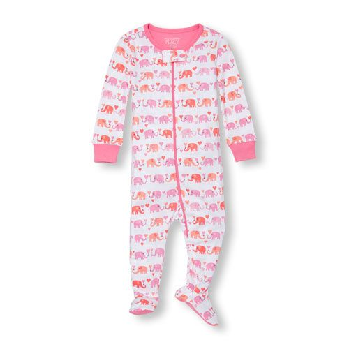 ea74819ea Baby Girls Baby And Toddler Long Sleeve Elephant Heart Print Footed ...