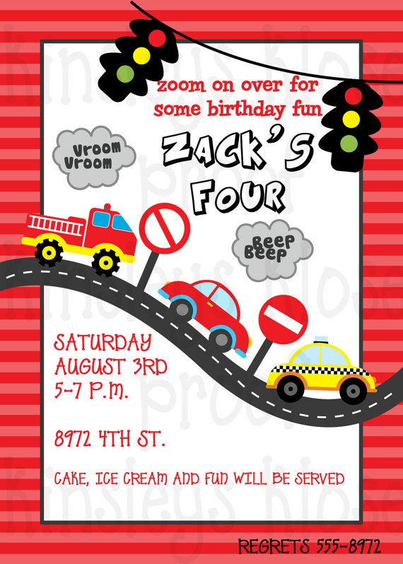 LITTLE CARS and TRUCKS Party CirclesCupcake Toppers Printabl – Printable Cars Birthday Invitations
