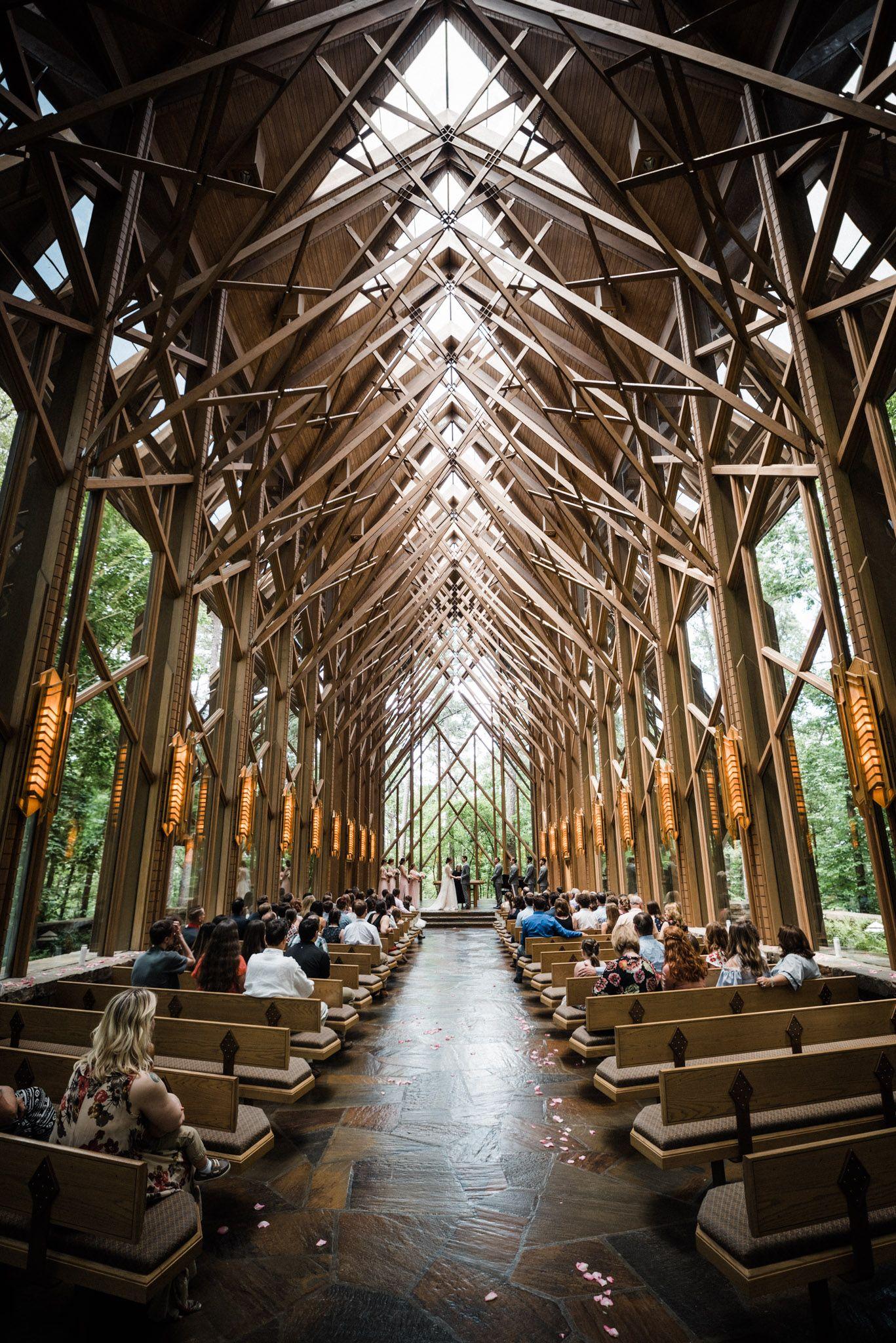 Anthony Chapel Wedding Ceremony Garvan Gardens Glass Chapel Arkansas Wedding Venues Anthony Chapel