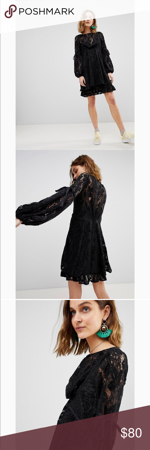 da3f6e790c953 Free People Ruby Lace Dress with Tie Sleeves Free People Ruby Lace Dress  with Tie Sleeves All laces   new  xs  retail 150   freepeople  lace  mini   dress ...