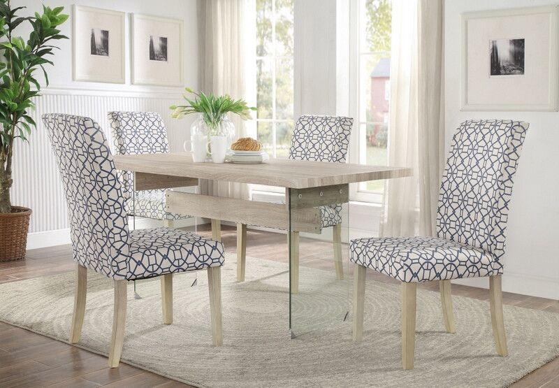 Acme 71905 07 5 Pc Glassden Light Oak Finish Wood Blue Chairs