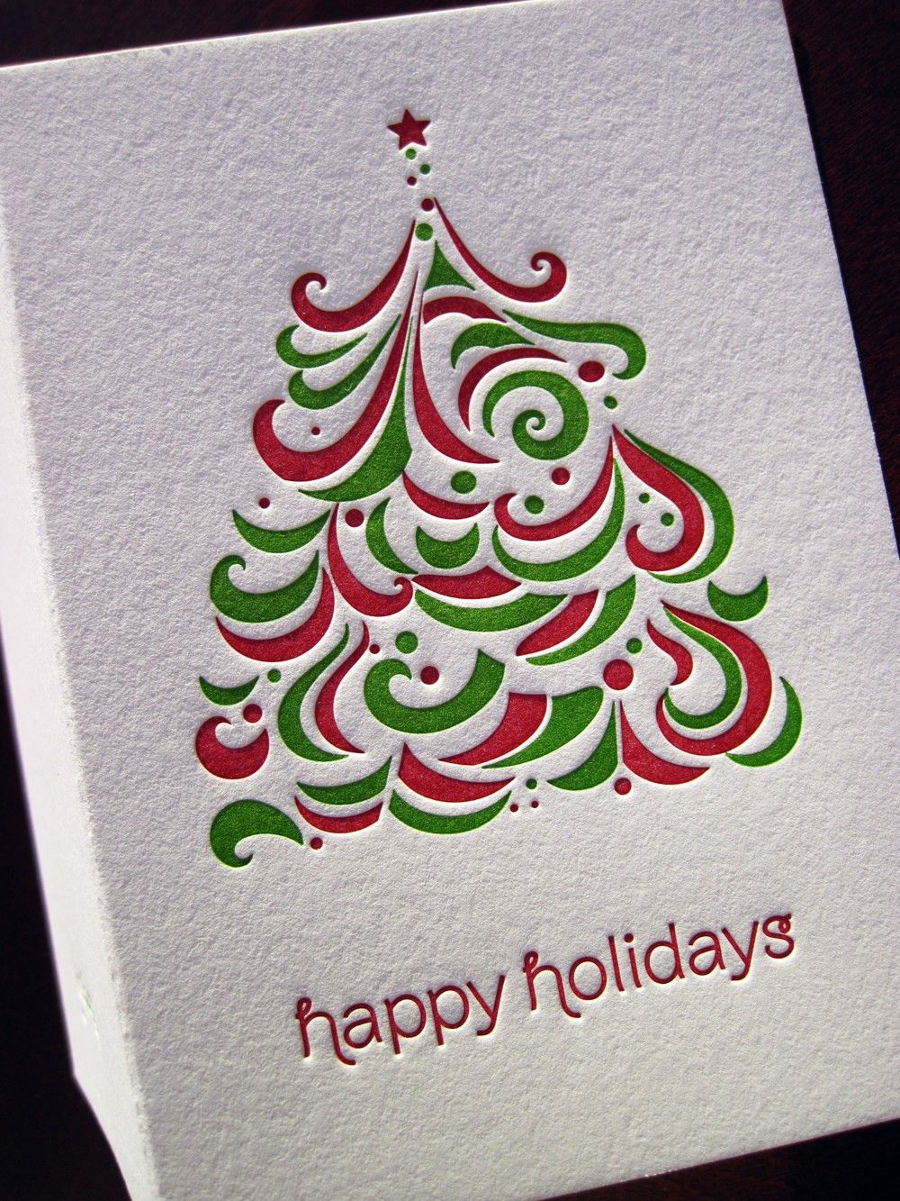 CLEARANCE - Letterpress Abstract Christmas Tree Holiday Card ...