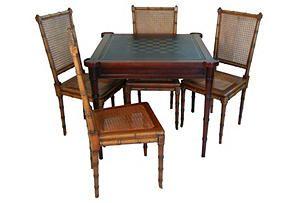 One Kings Lane   Drexel Bamboo Game Table Set, 5 Pcs