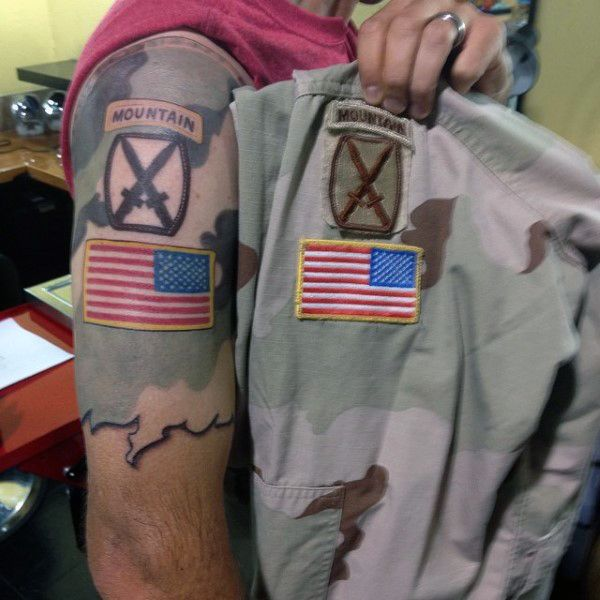 Best 25 Badass Tattoos Ideas On Pinterest: Half Sleeve Mens Army Mountain Patch Infantry Brigade