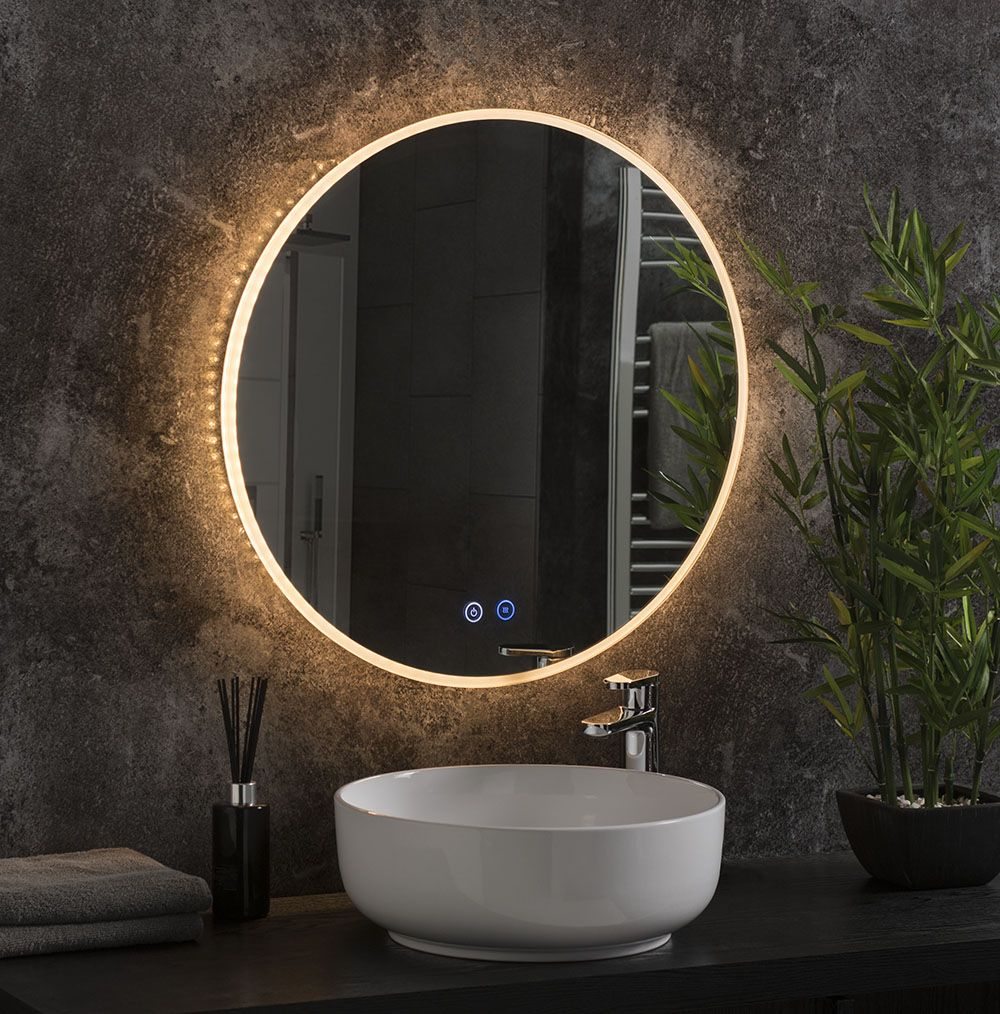 Round Feature Bathroom Mirror With Led Lights Behind It In 2020 Round Mirror Bathroom Bathroom Mirror Lights Modern Bathroom Mirrors