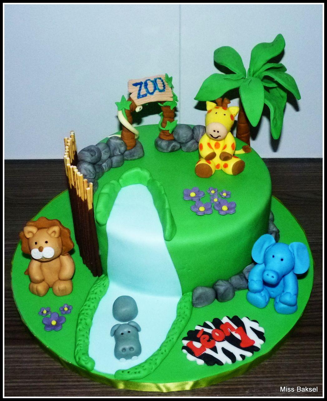 Cake Zoo Giraffe Elephant Lion Hippo Snake Tree Zeba