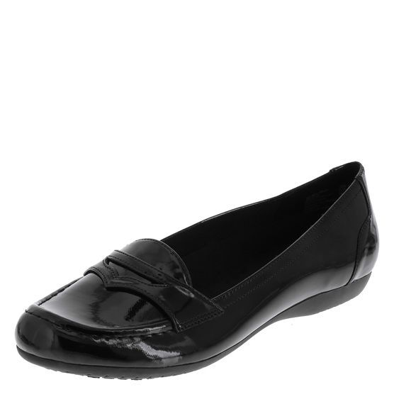 This trendy loafer features a glossy patent upper with ...