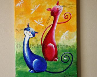 Original Cat Painting for Sale : Fantasy Cats by NaturelandsAndCo