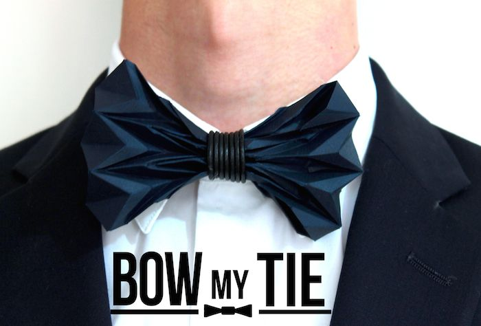 BOW MY TIE PAPER BOW TIE       //    100% Mexican product  Hand-made paper bow tie made by chilango artisans  Materials:   /Cotton paper (blue) /Adjustable elastic strap with hook & eye clasp /Leather detail (Mexican bovine leather)
